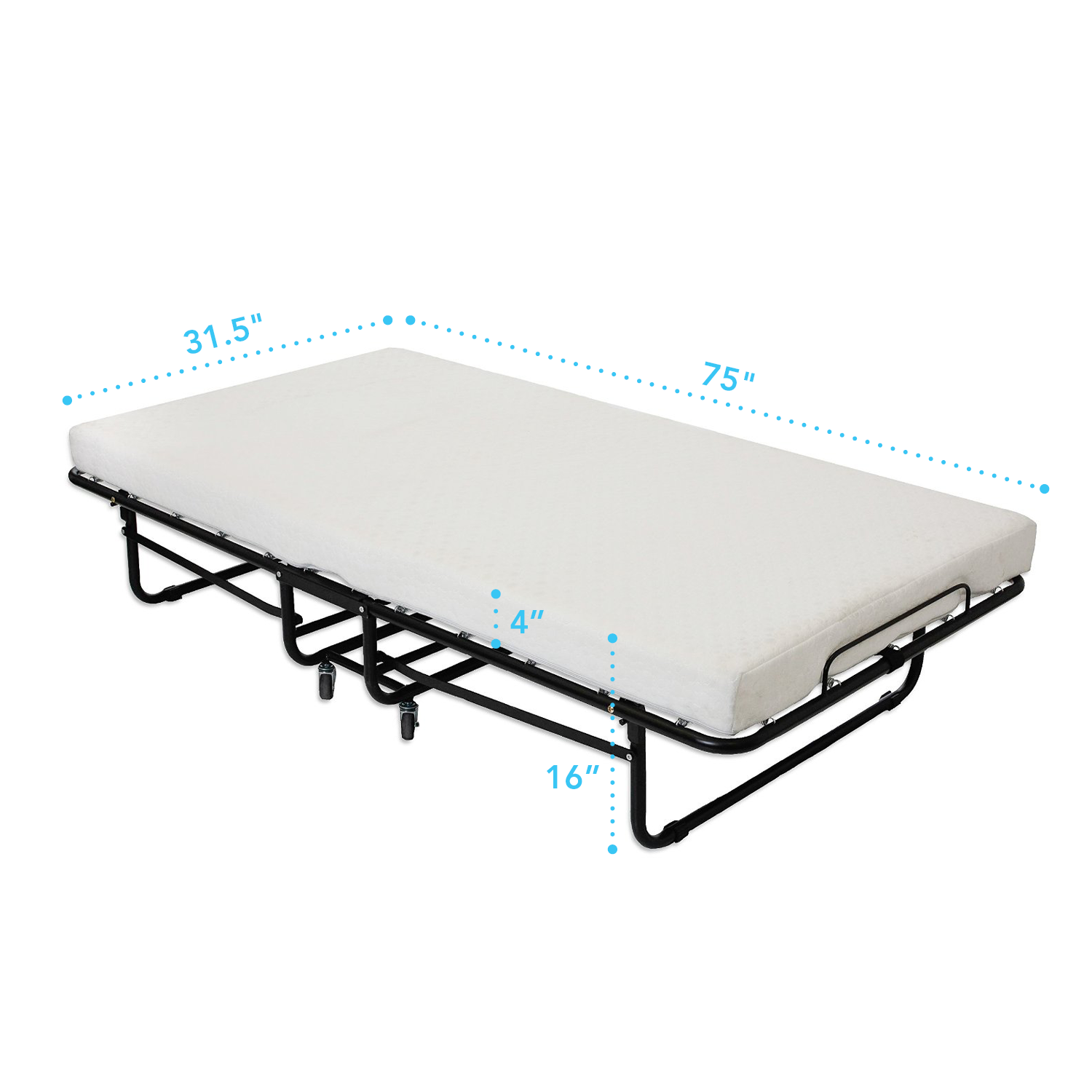 Premium Folding Bed With Luxurious Memory Foam Mattress 75 X