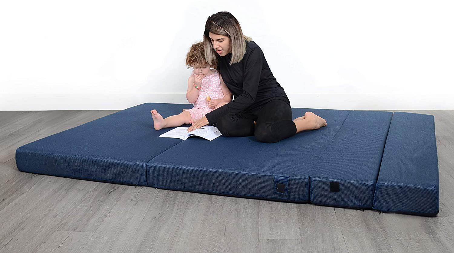 Milliard Tri Fold Foam Folding Mattress And Sofa Bed For Guests Queen 78x58x4 5 Inch Navy Milliard Bedding The Ultimate Sleep Experience