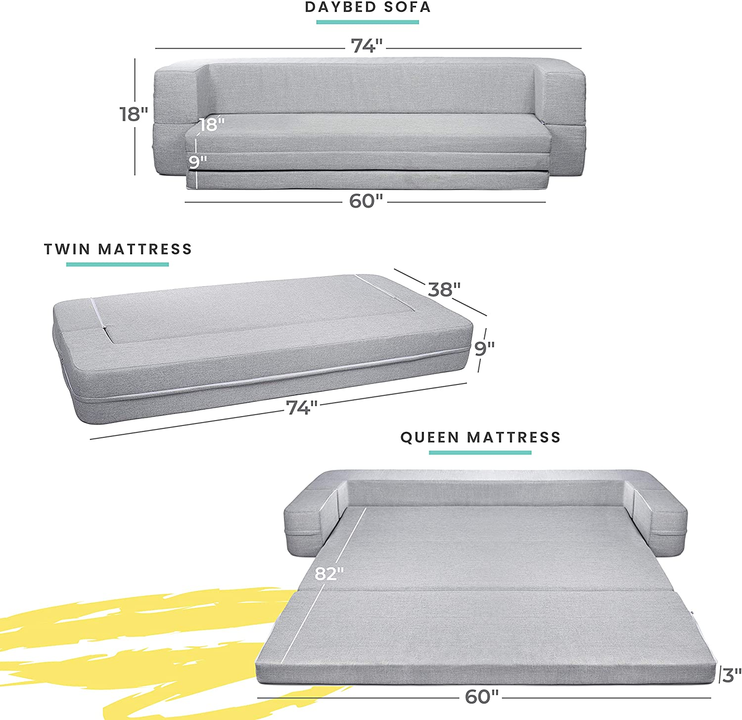Milliard Daybed Sofa Couch Queen To Twin Folding Mattress 3 In 1 Milliard Bedding The Ultimate Sleep Experience